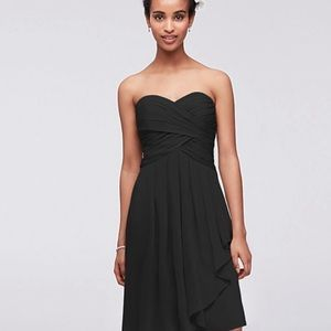 David's Bridal Black Strapless Bridesmaid Dress